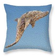 Dolphin Shell Art Sculpture Throw Pillow