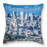 Downtown San Francisco City Street Scenes And Surroundings Throw Pillow