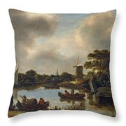 Dutch Landscape With Fishers Throw Pillow