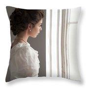Edwardian Woman At The Window Throw Pillow