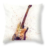 Electric Guitar Abstract Watercolor Throw Pillow by Michael Tompsett