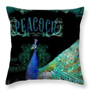 Elegant Peacock W Vintage Scrolls  Throw Pillow