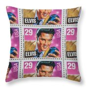 Elvis Commemorative Stamp January 8th 1993 Painted  Throw Pillow