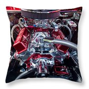 Engine Compartment Of Chromed Camaro Throw Pillow