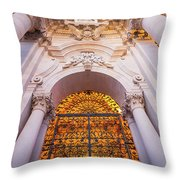Entrance Of The Syracuse Baroque Cathedral In Sicily - Italy Throw Pillow
