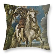 Equestrian Portrait Of The Duke Of Lerma Throw Pillow