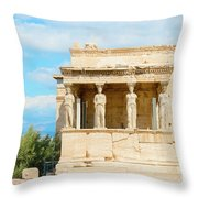 Erechtheion Temple On Acropolis Hill, Athens Greece. Throw Pillow