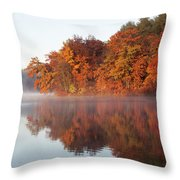 Fall Sunrise At Cox Hollow Lake In Governor Dodge State Park Throw Pillow