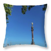 Famous Columbus Monument Landmark In Central Barcelona Spain Throw Pillow