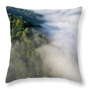 Fantastic Dreamy Sunrise On Foggy Mountains Throw Pillow