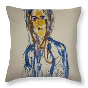Female Face Study  C Throw Pillow