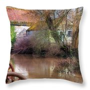 Fiddleford Mill - England Throw Pillow