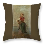 Fish Seller With The Vesuvio In The Background Throw Pillow