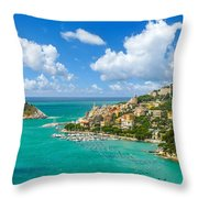 Fisherman Town Of Portovenere, Liguria, Italy Throw Pillow