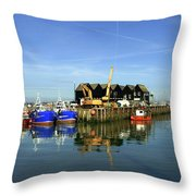 Fishing Boats At Whitstable Harbour 03 Throw Pillow