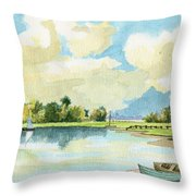Fishing Lake Throw Pillow