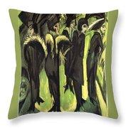 Five Women At The Street Throw Pillow