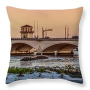 Flagler Bridge In Lights Panorama Throw Pillow
