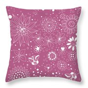 Floral Doodles Throw Pillow