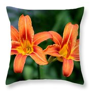 2 Flowers In Side By Side Throw Pillow