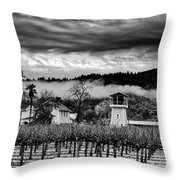 Fog Over The Vineyard Throw Pillow