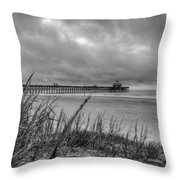 Folly Beach Pier Throw Pillow