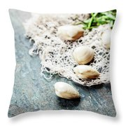 Food Background With Seafood And Wine Throw Pillow
