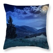 Forest On A Steep Mountain Slope Throw Pillow