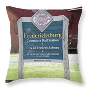 Fredericksburg Rail Station Throw Pillow