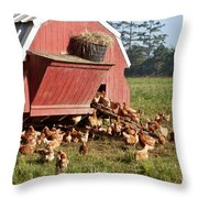 Free Range Chickens Throw Pillow