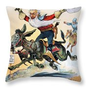 Free Silver Cartoon, 1896 Throw Pillow