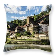 Fribourg Old Town In Switzerland Throw Pillow