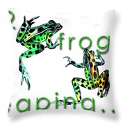 2 Frogs Leaping Throw Pillow