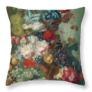 Fruit And Flowers In A Terracotta Vase Throw Pillow