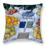 Fruit Displayed On A Stand Throw Pillow