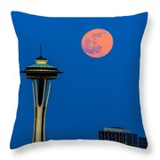 Full Moon With Space Needle Throw Pillow