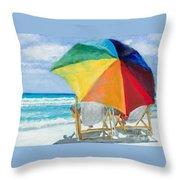 Beach Umbrella By Marilyn Nolan-johnson Throw Pillow