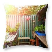 Garden Potting Table Throw Pillow