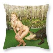 Gator Bites Throw Pillow