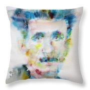 George Orwell - Watercolor Portrait Throw Pillow