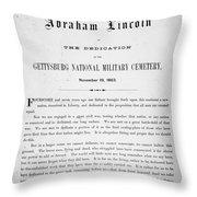 Gettysburg Address, 1863 Throw Pillow