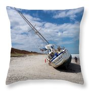 Ghost Ship Beached By Hurricane Irma Throw Pillow