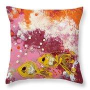 2 Gold Fish Throw Pillow