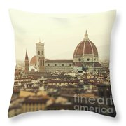 Golden Sunset Of Florence, Italy. Throw Pillow
