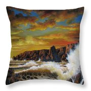 Golden Yellow Sunset Throw Pillow