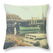 Green Boat Throw Pillow