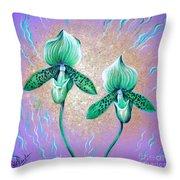 2 Green Orchids. Sunrise Throw Pillow