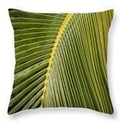 Green Palm Leaf Throw Pillow