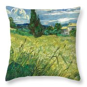 Green Wheat Field With Cypress Throw Pillow