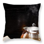 Gunpowder Green Tea In Glass Teapot Throw Pillow